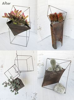 35 Cool Creative Ideas for Garden Decoration - Home/Decor/Diy/Design Diy Planters, Planter Boxes, Succulent Planters, Diy Design, Contemporary Planters, Diy Garden Decor, Garden Decorations, Garden Ideas, Hanging Baskets