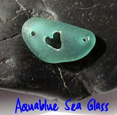 DOUBLE Drilled And Heart Carved GENUINE Sea by aquablueseaglass, $16.00