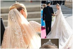 The wedding gown, veil, train and tiara. Stephanie wore a Lannoy family tiara, made of platinum and diamonds with a large inverted pear shape diamond in the high center. It was made by Althenloh of Brussels and was worn by Stéphanie's sisters and sisters-in-law at their weddings.