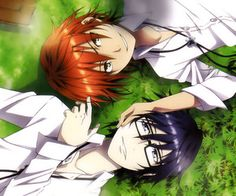 Aaaaaw Misaki and Saruhiko in Highschool. This is so cute. ^_^ I wish they still were friends. Yata Misaki Fushimi Saruhiko. K Project #anime