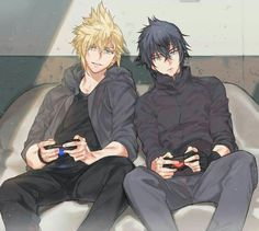 Prompto and Noctis ~ just gaming away