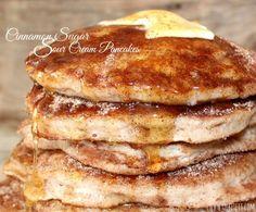 Cinnamon Sugar Sour Cream Pancakes!  {Oh, Bite It!}