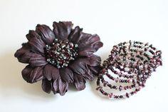 Leather Flower Dark Purple Brooch plus garnet bracelet