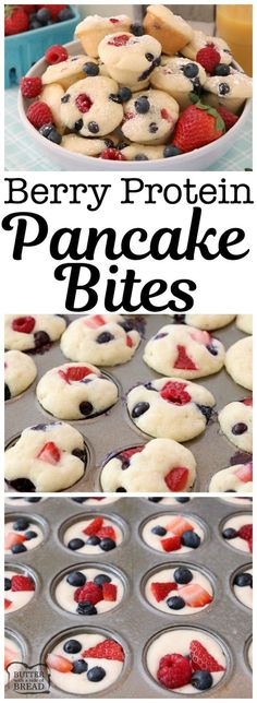 Berry Protein Pancake Bites made easy by baking protein pancake batter in the ov. Berry Protein Pancake Bites made easy by baking protein pancake batter in the oven with fresh blueberries, raspberries and strawberries. Dust w. Brunch Recipes, Baby Food Recipes, Breakfast Recipes, Dessert Recipes, Cooking Recipes, Breakfast Pancakes, Breakfast Healthy, Pancakes Easy, Baking Desserts