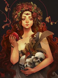 Art by Stef Tastan  Kore/Persephone illustration commissioned for the Gaea Goddess Gathering