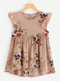SheIn offers Frill Trim Floral Print Dip Hem Top & more to fit your fashionable needs. Blouse Styles, Blouse Designs, Outfit Elegantes, Womens Trendy Tops, Baby Frocks Designs, Stylish Dresses For Girls, Frock Design, Toddler Dress, Dress Patterns
