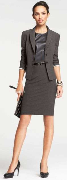 Ann Taylor Two Button Jacket & All-Season Stretch Pencil Skirt Dress for Success with polished and professional career styles. This section is designed to help you with what to wear to work. Power Dressing, Office Fashion, Work Fashion, Classy Fashion, Petite Fashion, French Fashion, Street Fashion, Men Fashion, Fall Fashion