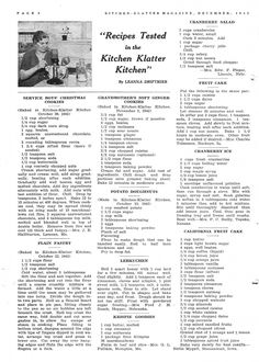 Kitchen Klatter Magazine, December 1942 Service Boys Christmas Cookies, Plain Pastry, Grandmothers Soft Ginger Cookies, Potato Doughnuts, Lebkuchen, Krispie Goodies, Cranberry Salad, Fruit Cake, Cranberry Ice, California Fruit Cake