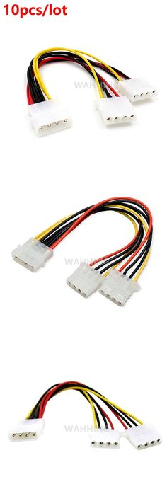 [Visit to Buy] 10pcs 4 Pin Molex Male to 2 ports Molex IDE Female Power Supply Y-Splitter Adapter Cable Computer Power Cable Connector HY316*10 #Advertisement