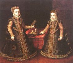 Infanta Isabel Clara Eugenia y Catalina Micaela (Doble retrato con perro), 1570. Obra de Sofonisba Anguissola