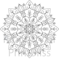 6. Flower Mandala printable coloring page. by PrintBliss on Etsy