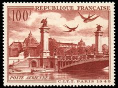 most beautiful french stamps | Stamp-France-1949-Poste Aerienne