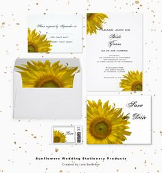 Pair these pretty Yellow Sunflower Wedding Stationery Products with the matching invitations to create a coordinated set for your summer or fall marriage. Customize these elegant postage stamps, stickers, save the dates, photo cards, envelopes and RSVP cards to suit your nuptial needs. These elegant custom floral wedding paper products feature yellow sunflower blossoms with a white background. #sunflowerwedding #summerwedding
