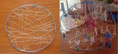 Tante piccole idee realizzate: Porta orecchini in filo di alluminio wire blu.