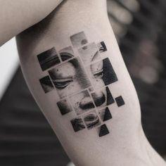 Inner arm Buddha blackwork tattoo.