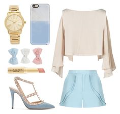 """C L A S S I C "" by alwaysyourself ❤ liked on Polyvore featuring Valentino, Elie Saab, Decree, Casetify, Napoleon Perdis, Michael Kors, gold, Blue and case"