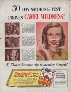 "Description: 1948 CAMEL CIGARETTES vintage print advertisement ""Smoking Test"" -- 30-Day Smoking Test Proves Camel Mildness! No Throat Irritation due to smoking Camels! More Doctors Smoke Camels -- Size: The dimensions of the full-page advertisement are approximately 10.5 inches x 13.5 inches (26.75 cm x 34.25 cm). Condition: This original vintage full-page advertisement is in Excellent Condition unless otherwise noted (outside back cover of magazine; slightly scuffed surface; tiny tear ..."
