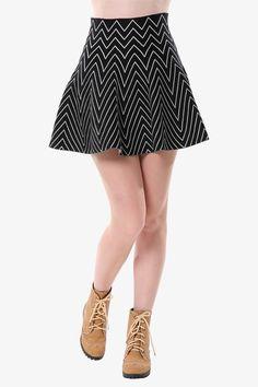 Black Chevron Mini Skirt