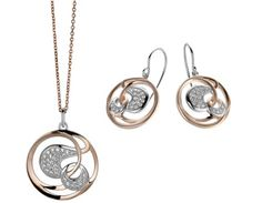 Orphelia Women's Jewellery SET Necklace Earrings 925 Sterling Silver with White…