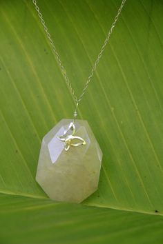 Spring Yellow Jade and butterfly neckace by seadragongems on Etsy, $28.00