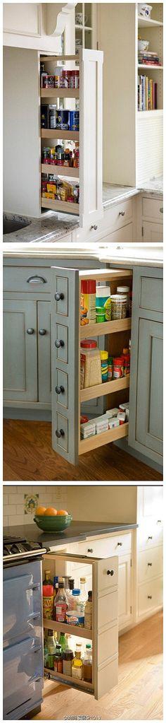 家居 装修 厨房 橱柜上留个小边柜,非常实用哦。