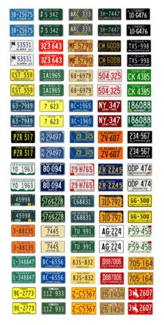 1-25-1-24-scale-model-car-assorted-1960s-USA-license-plates-state-tags