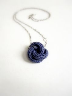 Eternally. Crochet knot pendant in violet. by sidirom on Etsy, $14.00 #jewelry #necklace #pendant