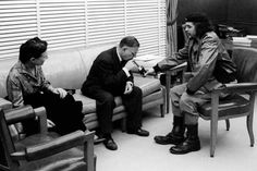 "An interesting photo for those studying Guevara's ""The Motorcycle Diaries"" for HSC Discovery. Cuba, 1960, Guevara holding court with two French philosophers whose work revolves around freedom, equality and identity. https://www.facebook.com/berfrois/posts/1059897177386465"