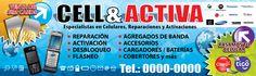 Rótulo/Banner impreso en lona vinílica, elaborado para Cell-&-Activa, Tegucigalpa. LGALLP 2012.