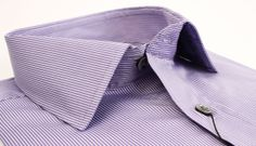 Classic & Chic. Πουκάμισο lilac Manetti με ρίγα στην ύφανση γραμμή Slim 65€