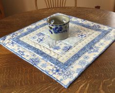 Quilted Table topper table topper quilted by WarmandCozyQuilts Table Runner And Placemats, Quilted Table Runners, Small Quilts, Mini Quilts, Round Table Covers, Quilted Table Toppers, Miniature Quilts, Table Accessories, Pattern Blocks