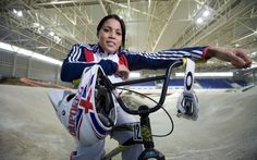 Great Britain's BMX World Champion Shanaze Reade at the indoor BMX arean in Manchester.