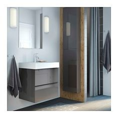"GODMORGON Wall cabinet with 1 door, high gloss gray - 15 3/4x5 1/2x37 3/4 "" - IKEA"
