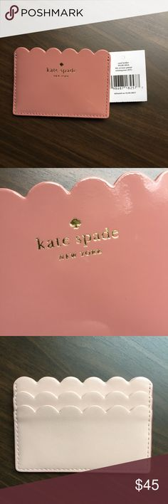 Kate Spade ♠️ pink/blush patent credit card holder NWT Small portable credit card holder. Gorgeous pink blush color. Patent leather in the front and matte light pink in the back. Scallop edges. Very girly! I own one for me, selling this other one I bought for a friend but gave her something else instead. kate spade Accessories Key & Card Holders