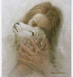 picture of jesus christ kissing a lamb Pictures Of Jesus Christ, Images Of Christ, Jesus Pics, Christian Artwork, Christian Images, Christian Paintings, Lds Art, Bible Art, Première Communion