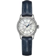 Hamilton Railroad White Mother Of Pearl Dial Blue Leather Ladies Watch (4 645 PLN) ❤ liked on Polyvore featuring jewelry, watches, white leather watches, white wrist watch, hamilton wrist watch, hamilton watches and quartz movement watches