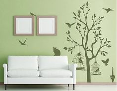 Wall Decal - single-coloured no.RS57 Cats And Birds II