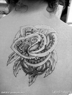 dollar rose original flash by og abel. just changed it a little 100 Dollar Bill Tattoo, Dollar Tattoo, Money Sign Tattoo, Money Rose Tattoo, Gangster Tattoos, Badass Tattoos, Tattoos For Guys, Rose Tattoos, Flower Tattoos