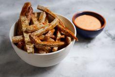 Little Market Kitchen: Sweet and Spicy Taro Fries with Sriracha Mayo