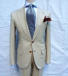 Terry Corbett's handmade to order 2 button peak lapel suit made in Cerruti super 150's