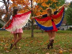 NattyJane's Birds of a Feather Costume Tutorial. These would be fun to incorporate into a costume -- fun when you extend them and interesting if you decide to just let them drape back.