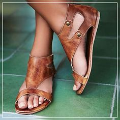Women s Shoes - Roman Gladiator Summer Ankle Strap Flat Sandals – Kaaum  Talons Plats, Fermeture 7828c2986a07