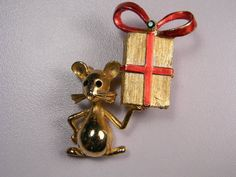 Mylu Mouse With Present Vintage Brooch by dianadivine on Etsy, $39.00