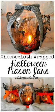 Halloween Mason Jars made Creepy with painted and stiffened cheesecloth