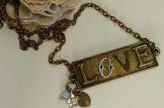 Brass L♥VE Charm Necklace by ksyardbird, $21.00