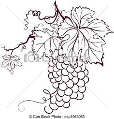 Vector – Grapes With Leaves – stock illustration, royalty free illustr… Grape Drawing, Vine Drawing, Leaf Clipart, Small Canvas Art, Wood Burning Patterns, Wine Art, Art Icon, Silk Painting, Free Illustrations
