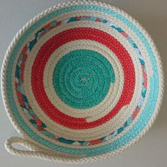 Fabric wrapped rope bowl  #rope #handmade #decor #ropebowls