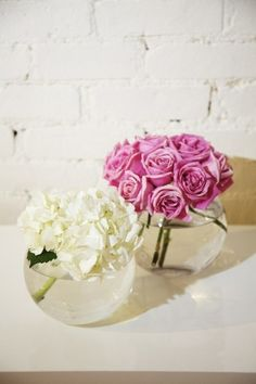 Pink roses and white hydrangeas.