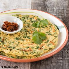 Spinach Adai     Savory lentil pancake  Lentils, rice (can also do without), spices, spinach and oil