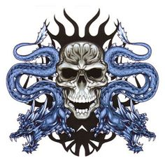 Skull Dragons Blue Black Picture And Wallpaper